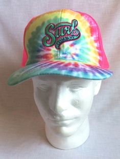 f88a2c6f5 Surf Co Adult Ball Cap Pink Net Hat Snapback Adjustable Tie Dye New
