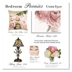 """Peonies"" by terry-tlc ❤ liked on Polyvore featuring interior, interiors, interior design, home, home decor, interior decorating, Henri Bendel, Dale Tiffany, The French Bee and bedroom"