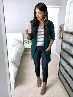 Green Cardigan + Striped tee + Skinnies + Peep Toe Booties