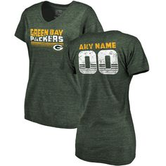 Green Bay Packers NFL Pro Line by Fanatics Branded Women's Personalized Retro Tri-Blend V-Neck T-Shirt - Green