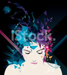 Explosion in triangles woman royalty-free stock vector art