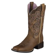 Ariat Women's Badlands Brown Quickdraw Square Toe Cowboy Boots