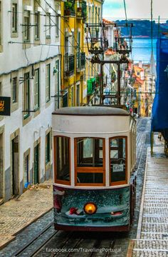 One of the many funiculars to use to climb the 7 Lisbon hills , Portugal