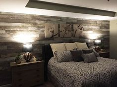 """""""Added laminate flooring to bedroom wall to give the room a distressed barn wood accent wall. Laminate Flooring On Walls, Wood Walls, Bedroom Wall, Bedroom Decor, Bedroom Ideas, Master Room, Basement Bedrooms, Bedroom Styles, New Room"""