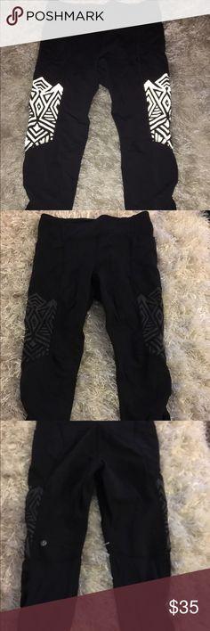 Lululemon workout crop leggings Reflective lululemon cropped leggings! So comfortable! lululemon athletica Pants Capris