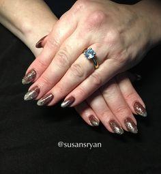 Gel nails - dark chocolate golden glitter