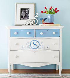 Monogrammed Dresser        Save a basic hand-me-down dresser with fresh paint. Remove the hardware. Sand and prime the piece. Take out the top drawers and coat them with semigloss paint in a chosen hue; cover the rest of the unit in white semigloss. Add a monogram using a stencil. When the dresser is completely dry, replace the drawers and swap the wooden knobs for porcelain versions.