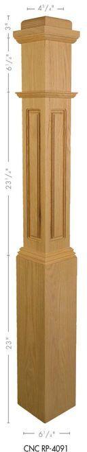 RP-4091 Red Oak Raised Panel Box Newel Post