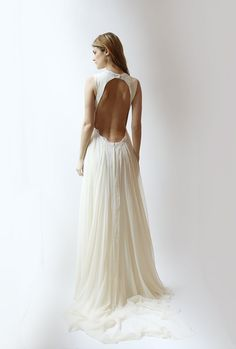 Open Backed Silk Gown with Lace trim--Sample Sale--Size 4