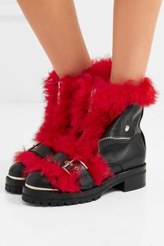 Heel measures approximately 25mm/ 1 inch Black leather, red shearling Zip fastening along front Made in Italy