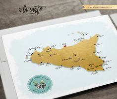 Sicily Italy Wedding - Cefalu  Illustrated Destination Wedding Invitation Set in Gold and Blue  Signature Graphic Collection