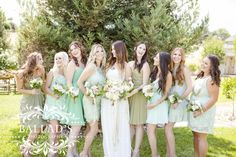 Multi colored bridesmaid dresses.  The contrast makes for gorgeous photos!