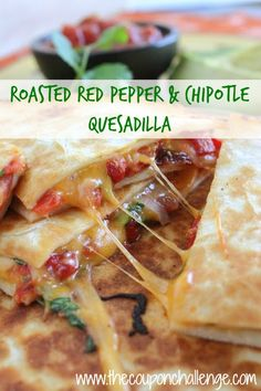 CHEESE!  Make a fabulous Mexican quesadilla recipe right from home and skip the restaurant price tag. This Roasted Red Pepper and Chipotle Quesadilla is sure to become a family go-to week night meal.