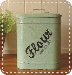 enamelware flour storage