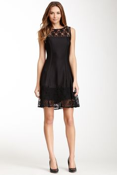 """Bandage Shift Dress in black by Julia Jordan  $200 - ($59) $55 @HauteLook. - Boatneck - Exposed back zip closure - Lace yoke and hem - Bandage construction - Lined - Approx. 36"""" length Fit: this style fits true to size. Model's stats: - Height: 5'9"""" - Bust: 34"""" - Waist: 24"""" - Hips: 34"""" Model is wearing size 4. Dry clean. Body: 96% polyester, 4% spandex Combo: 55% nylon, 45% cotton.. Lining: 100% polyester."""
