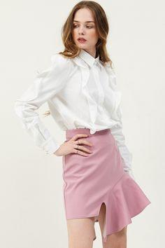Amie Ruffle Skewed Skirt . Discover the latest 2017 #fashion trends online at storets.com  #skirt #pinkruffleskirt #ruffleskewedskirt