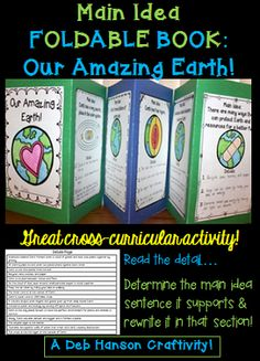 Practice identifying the supporting details that accompany MAIN IDEA statements by creating this foldable book, all while learning about the Earth!  This activity is perfect for Earth Day, but it can easily be done at any time throughout the year!    Students read a detail statement, and then determine which of the 6 pages it belongs on.  $