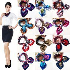 New Women Girls Korean Style Hotel Waiter Flight Attendants Business Printing Square Imitate Silk Scarf 50x50cm