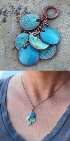 I created this by cutting out copper disks then enameling them. Love this process.
