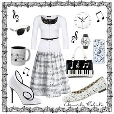 Musical Notes by apostolicchickie on Polyvore featuring Jane Norman, Glamorous, Chicwish, Music Notes and Sergio Rossi