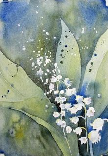 LILY OF THE VALLEY, love the white spatter, watercolor resist technique