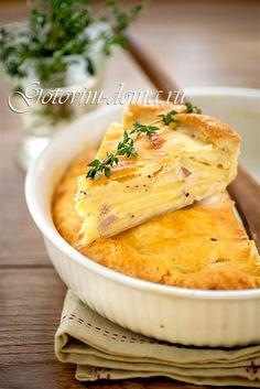 Рецепт: Пирог (киш) с картофелем и копченой грудинкой