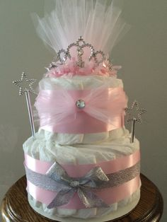 Two or Three layer Deluxe Pink Princess Crown Diaper Cake baby shower gift centerpiece Baby Cakes, Baby Shower Cakes, Idee Baby Shower, Fiesta Baby Shower, Shower Bebe, Baby Shower Diapers, Girl Shower, Baby Shower Parties, Baby Shower Gifts