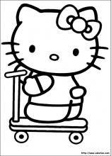 kitty fait de la trottinette coloring pages for kidsprintable - Printable Coloring Pages For Children