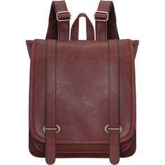 Brown Belt Buckle PU Backpacks ($27) ❤ liked on Polyvore featuring bags, backpacks, brown, pu backpack, buckle bag, red bag, backpacks bags and buckle backpack