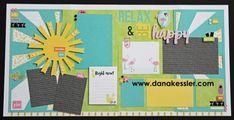 Two Page Summer Calypso Scrapbook Pages Layouts Page Kit Fun Palm Tree Flamingo #ctmhcalypso #scraptabulousdesigns #cricutexplore #scrapbooking
