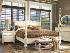 Paula Deen Home by Universal Furniture: queen/king Savannah poster bed with matching nightstand, dresser/mirror and bench. #countryhome #bedroom #whitewash