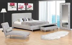 Silver Color Queen Cal King Est King Size Single Bed W Leather Like Exterior
