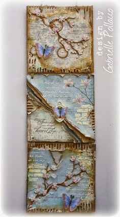3 pc, mixed media wall hanging made by Gabrielle Pollacco using Maja Design Paper, Dusty Attic Chipboard and embellishments from Angelica's Little Scrap Shop
