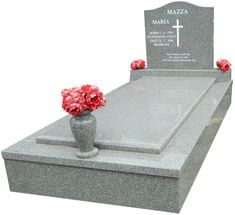 Polished, Single Serpentine style, Cemetery Memorials Brisbane full single memorial created in Light Grey Indian Granite, with inscribed white lettering for The Mazza Family and installed in the section of the Mt.