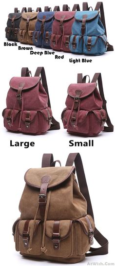Leisure Draw String Flap School Backpack Belt Metal Lock Retro Canvas  Travel Backpack only  36.99 -AtWish.com 720fd975f5
