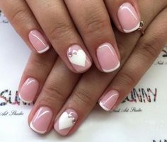 Beautiful French nails, Beautiful nails Delicate french manicure, French manicure with heart, Gentle french nails, Heart nail… Heart Nail Designs, French Manicure Designs, Best Nail Art Designs, French Nails, Romantic Nails, Nail Art Design Gallery, Short Nails Art, Heart Nails, Nagel Gel