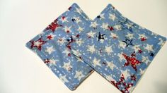 Mini Hot Pads Pot Holders Red White and Blue Stars | KallieJosCottonPatch - Housewares on ArtFire