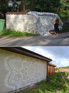 Warsaw-based artist NeSpoon adds a delicate touch to public spaces with her intricately designed lace patterns. The Polish artist, who is no stranger to working with actual lace, has expanded her portfolio of work to include ornate designs resembling the detailed thread work across urban and natural landscape.