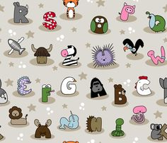 Animal Alphabet Show- Large fabric by mayabella on Spoonflower - custom fabric