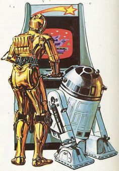 R2D2 and C3PO playing retro arcade game!