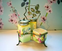 Art Deco china cruet set, Art deco salt, pepper and mustard pot in stand, floral chintz salt and pepper shakers by Lancaster and Sandland.