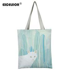 Cat Bag, Canvas Handbags, Summer Beach, Shopping Bag, Cat Prints, Reusable Tote Bags, Shoulder Bag, Cartoon, Cats