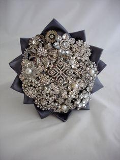 Lillybuds Luxurious Meduim Silver Wedding Brooch Bouquet. $385.00, via Etsy.