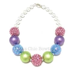 Toddler Spring Rainbow Chunky Necklace, Pink, Purple, Lime green and blue chunky necklace, Girls Mermaid necklace, Easter chunky necklace by MaksChicBowtique on Etsy https://www.etsy.com/listing/270450795/toddler-spring-rainbow-chunky-necklace
