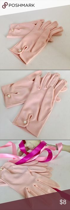 Vintage Pink Gloves with Pearl Button, SZ 5-5.5 These are EUC, Vintage, very soft/light pink, poly blend gloves, just perfect for special occasions or having fun with vamping up a dress! Pristine condition. I wear a 6.5, and show wearing for fit guide. EZ care; hand wash and lay flat, light iron with cloth over top. Just too precious!! Enjoy💗💚 Vintage Accessories Gloves & Mittens