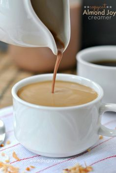 Almond Joy Coffee Creamer I Shugary Sweets Homemade Coffee Creamer, Coffee Creamer Recipe, Almond Joy Creamer Recipe, Brunch, Chocolates, Yummy Drinks, Yummy Food, Cocoa, Shugary Sweets