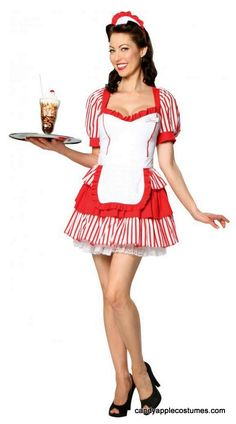 Adult Diner Delight Waitress Costume - 50's Costumes - Candy Apple Costumes
