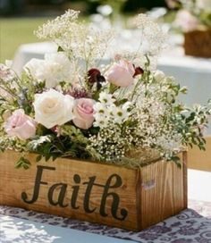 Faith, love, happiness etc...would make beautiful centerpieces and a nice keepsake for you to keep momento's in or plant flowers/herbs  in.
