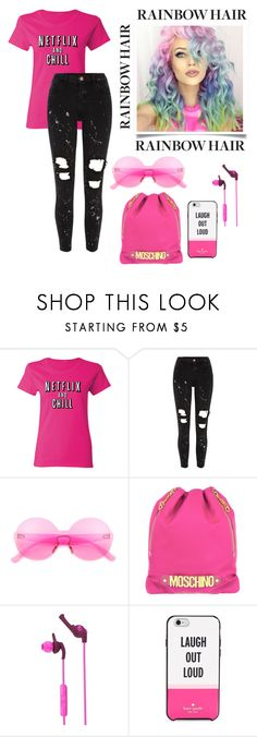 """""""Hair Trend"""" by yu-n-me ❤ liked on Polyvore featuring beauty, River Island, Moschino, Skullcandy, Kate Spade, hairtrend and rainbowhair"""