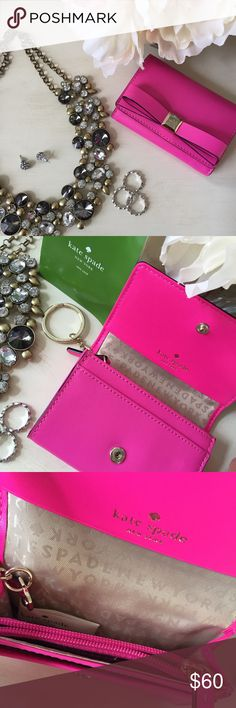 SALE✨HOST PICK✨Kate Spade Darla wallet This vibrant keychain wallet is super cute with a statement! Wallet has a button closure, 3 inside compartments, & zipper coin pocket. Backside of wallet has pocket and ID window. Brand new and never used. STYLE OBSESSIONS PARTY HOST PICK 7.24.16 kate spade Bags Wallets
